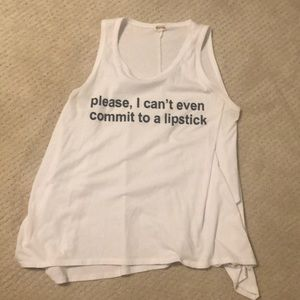Phrase tank top with words